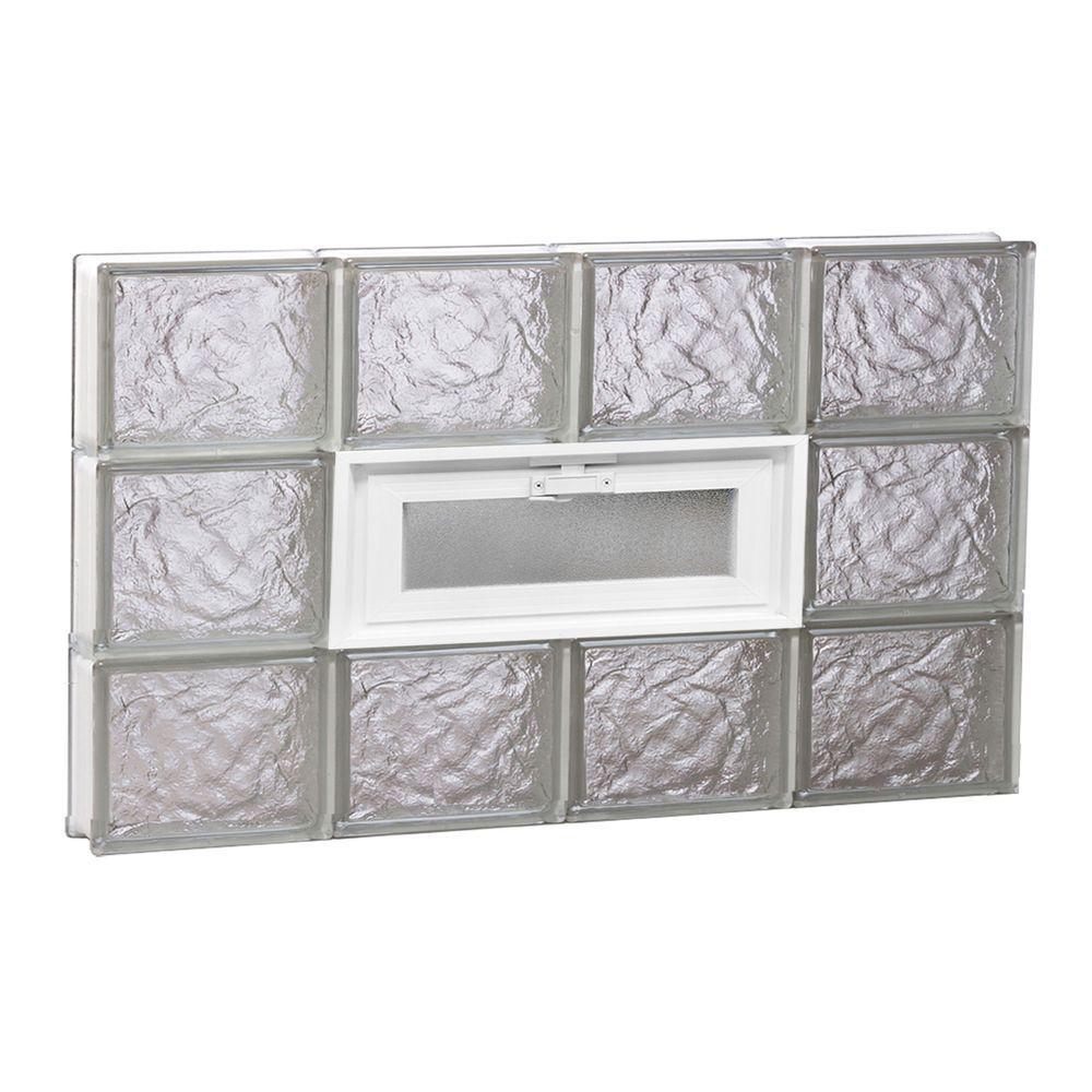 31 in. x 17.25 in. x 3.125 in. Vented Ice Pattern Glass Block Window