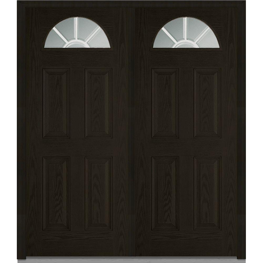 64 in.  x 80 in. Grilles Between Glass Right-Hand 1/4 Lite 4-Panel Classic Stained Fiberglass Oak Prehung Front Door