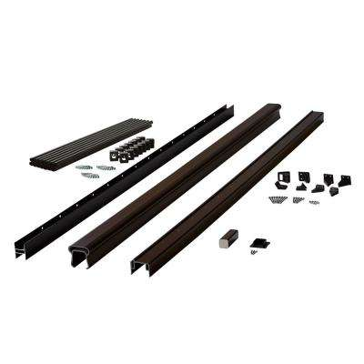 Symmetry 6 ft. Simply Brown Capped Composite Stair Rail Section with 36 in. Aluminum Balusters