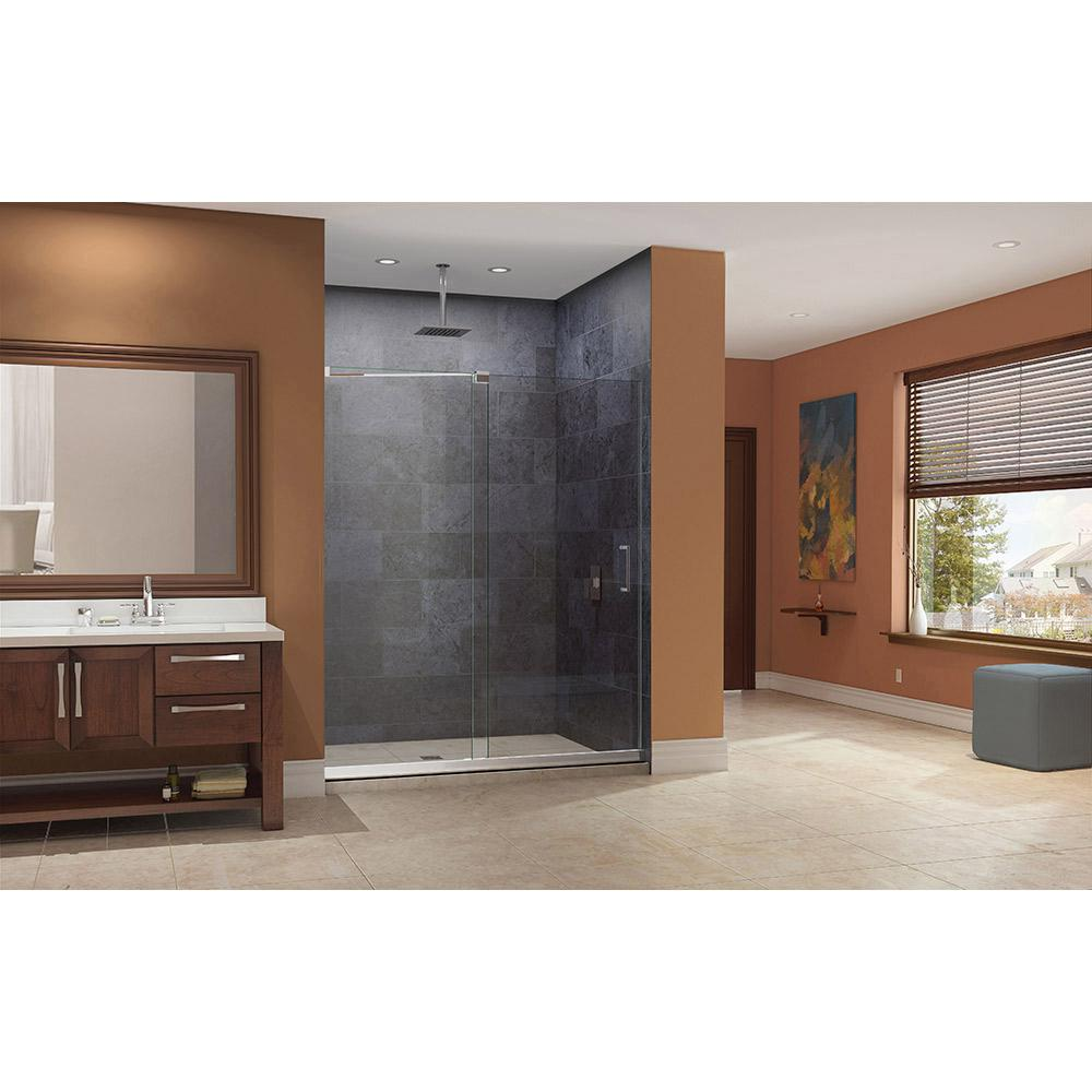 DreamLine Mirage 36 in. x 60 in. x 74.75 in. Semi-Framed Sliding Shower Door in Chrome with Right Drain White Acrylic Base