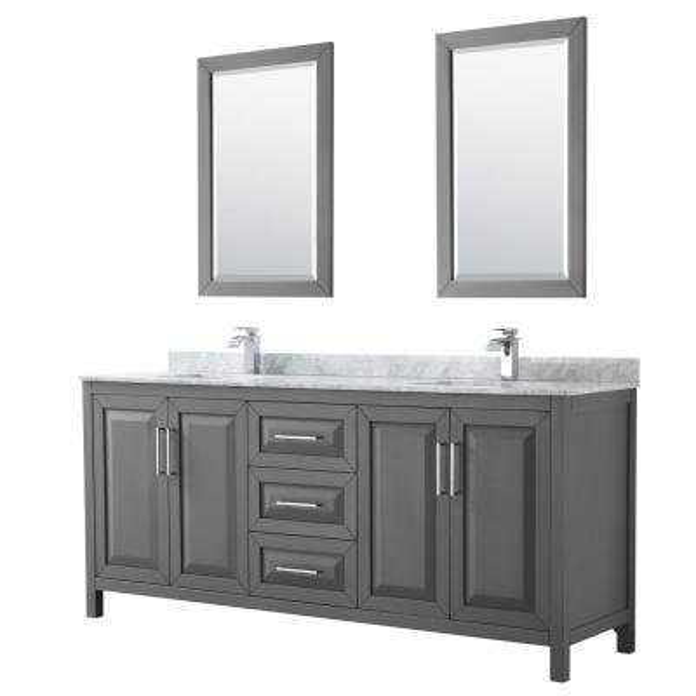 Daria 80 in. Double Bathroom Vanity in Dark Gray with Marble Vanity Top in Carrara White and 24 in. Mirrors