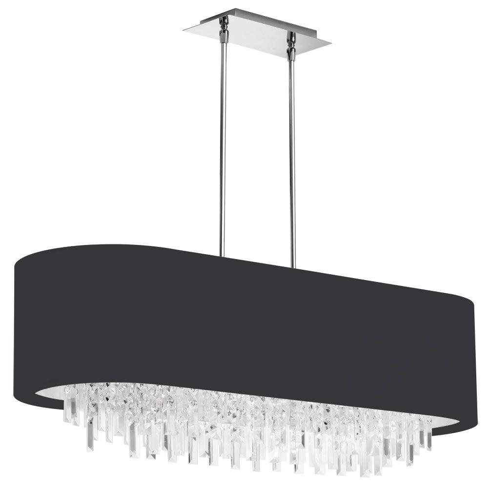 Jasmine 8-Light Polished Chrome Oval Crystal Chandelier with Black Lycra Shade