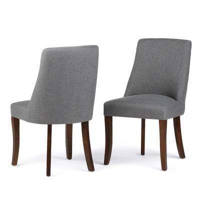 Walden Contemporary Deluxe Dining Chair (Set of 2) in Slate Grey Linen Look Fabric