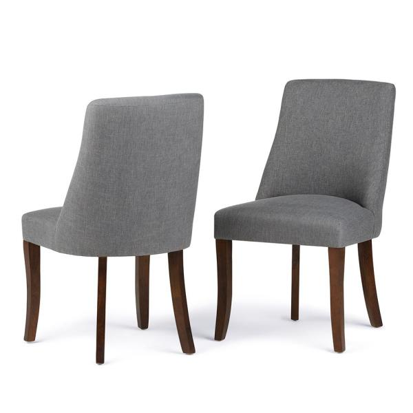Simpli Home Acadian Contemporary Parson Dining Chair Set Of 2 In Light Mocha Linen Look Fabric Ws5113 4 Lml The Home Depot