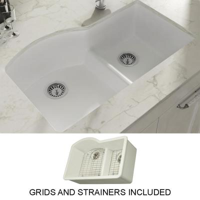 Yorkshire Undermount Fireclay 33 in. 55/45 Double Bowl Kitchen Sink with Grid and Strainer in White