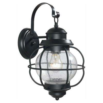 Greer 1-Light Black Exterior Outdoor Wall Lantern Sconce with Caged Seeded Glass