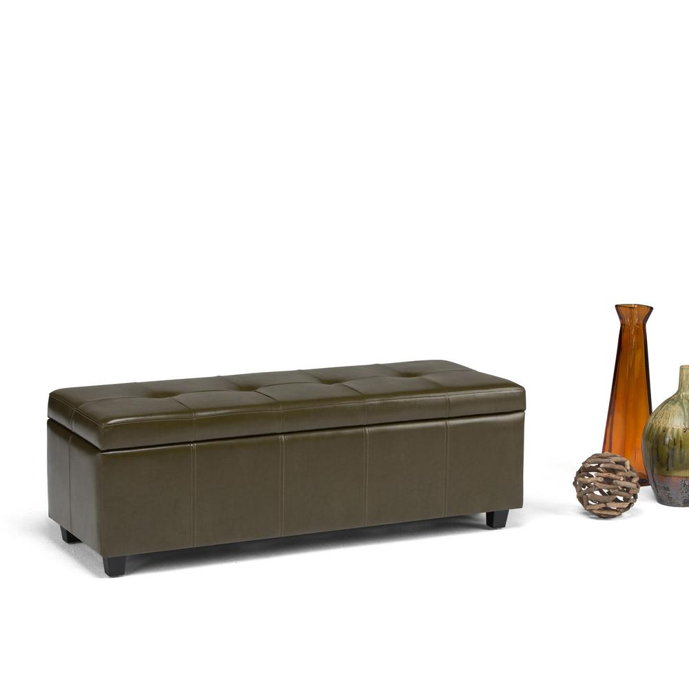Delightful Simpli Home Castleford Deep Olive Green Storage Bench