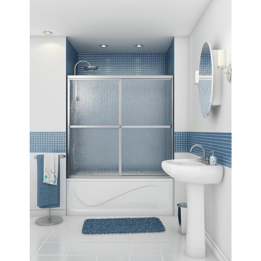 Atwater 54 in. - 59.5 in. x 57.7 in. Framed Sliding Tub Door in Chrome