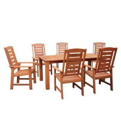 Lennox 7-Piece Wood Outdoor Dining Table with Inset Coolers