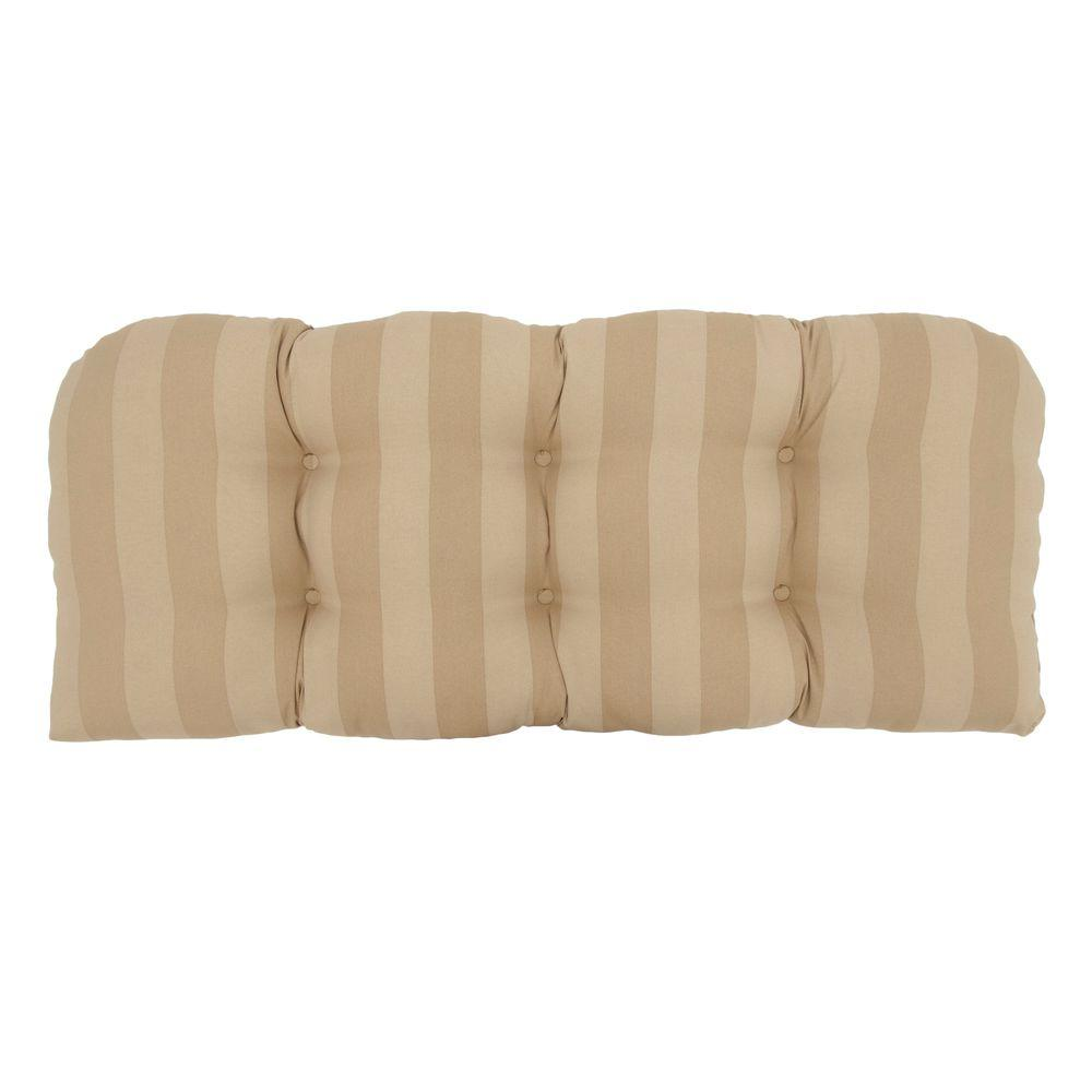 Hampton Bay Roux Stripe Tufted Outdoor Bench Cushion
