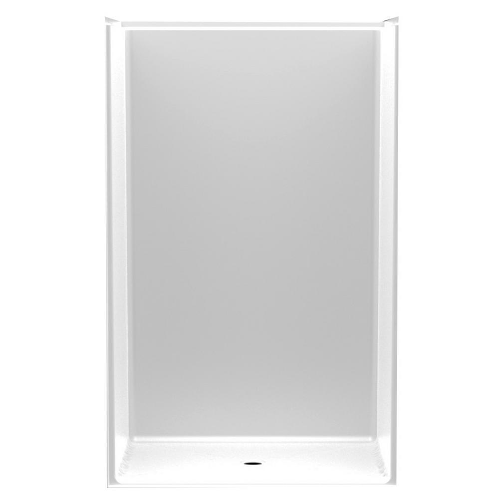 Aquatic Accessible Smooth Wall AcrylX 46 in. x 36 in. x 75 1/4 in. 1-Piece Shower Stall with Center Drain in White