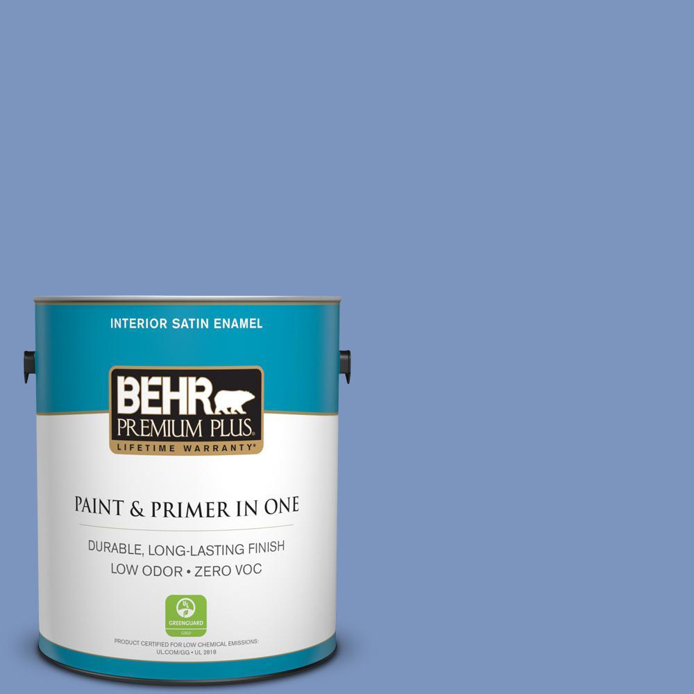 BEHR Premium Plus 1-gal. #M540-5 Blue Satin Satin Enamel Interior Paint