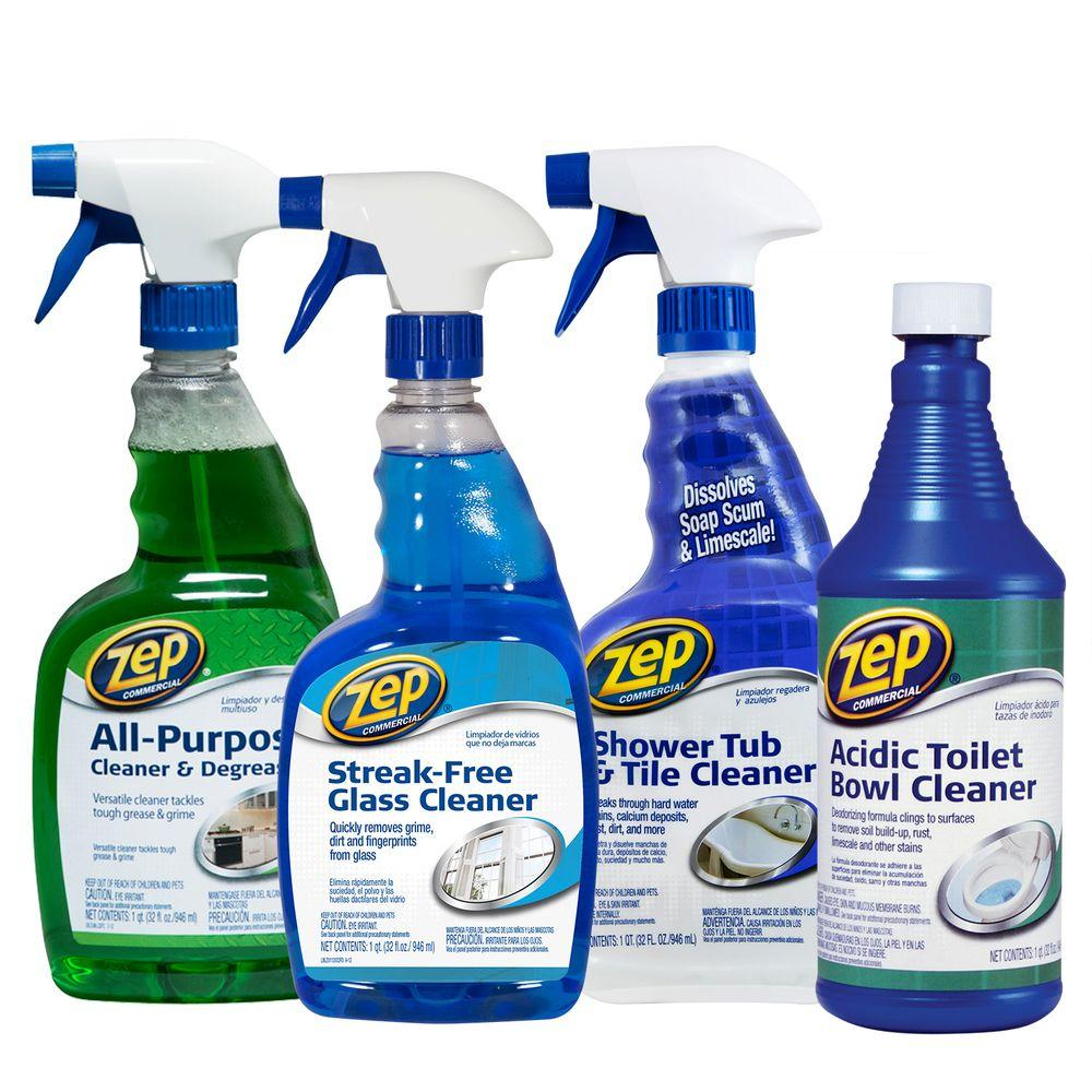 ZEP Bath Cleaning Kit 4-Pack Bathroom Toilet Shower Sink Tub Cleaner All Purpose 21709017762