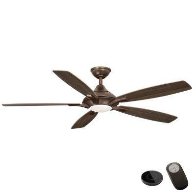 Petersford 56 in. Integrated LED Oil Rubbed Bronze Ceiling Fan with Remote Control works with Google and Alexa