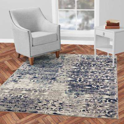 Jasmin Collection Floral Design Navy and Gray 3 ft. x 10 ft. Runner Rug