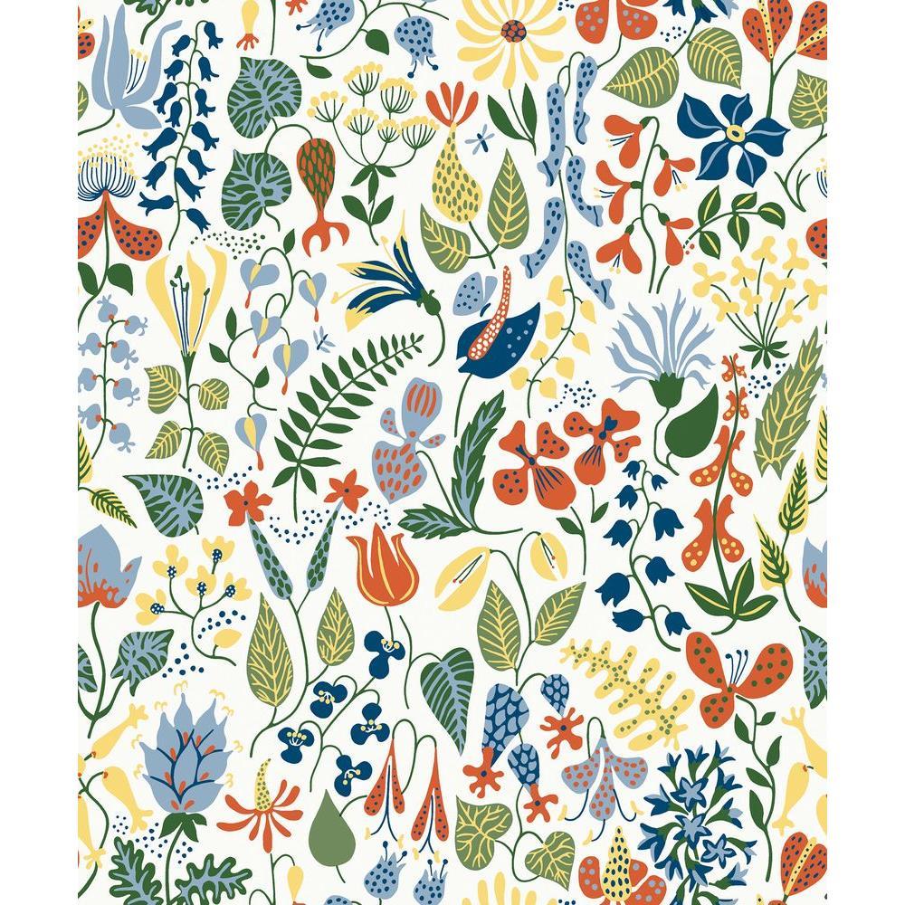 Herbarium White Floral Motif Wallpaper Sample