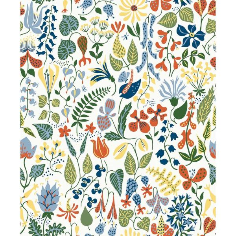 Brewster Herbarium White Floral Motif Wallpaper Sample