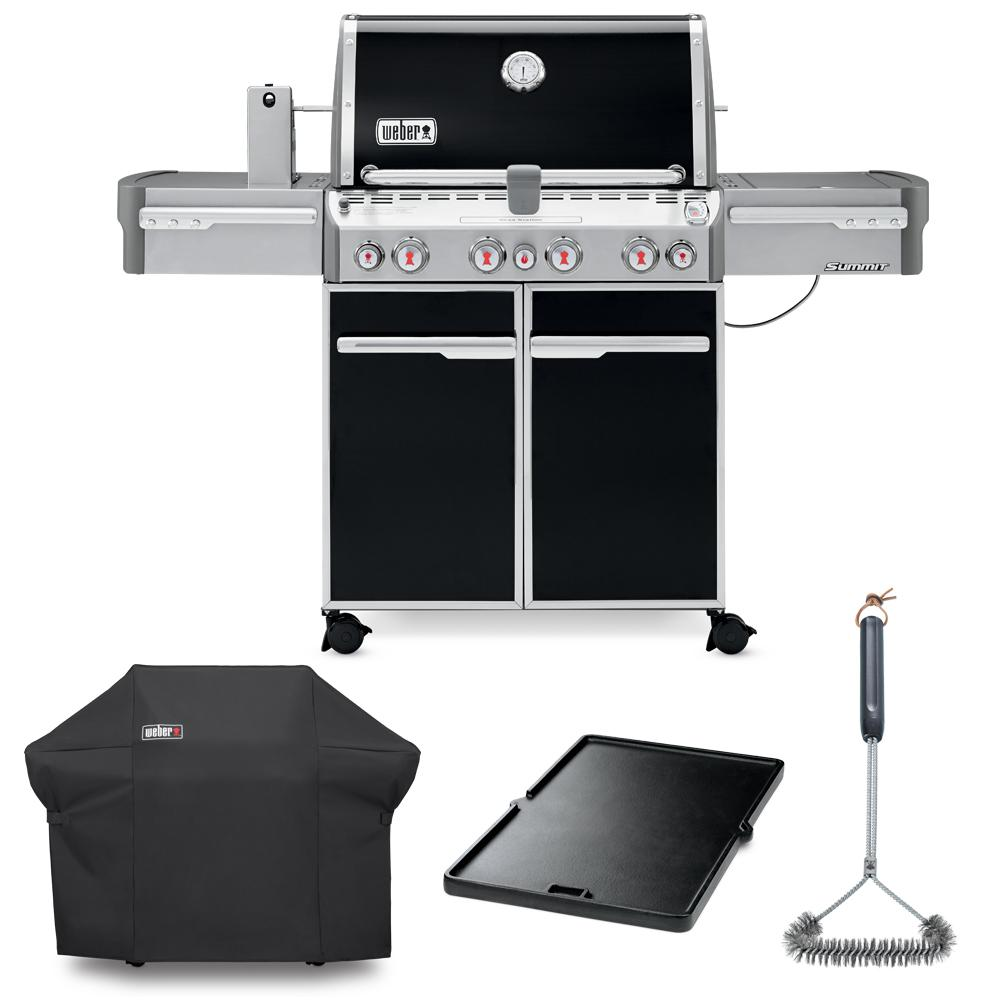 Weber Summit E-470 Liquid Propane Grill Combo with Grill Brush, Cover, and Cast Iron Griddle, Black This Summit E-470 LP combo pack contains 1 each of the following: Summit E-470 Propane gas BBQ grill in Black, grill cover, grill brush and griddle. Summit E-470 Liquid Propane Gas Grill boasts an array of grilling features designed to put 88,800 BTUs of heating power at your disposal. Grill up a variety of foods from veggies, seafood and more with your griddle.
