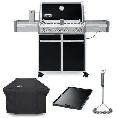 Summit E-470 Liquid Propane Grill Combo with Grill Brush, Cover, and Cast Iron Griddle