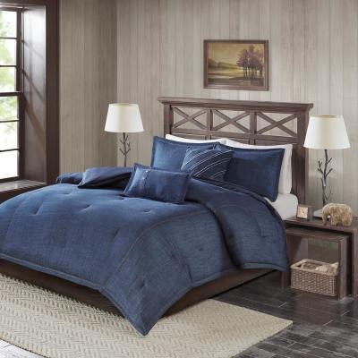 Perry 5-Piece Blue Queen Oversized Denim Comforter Set