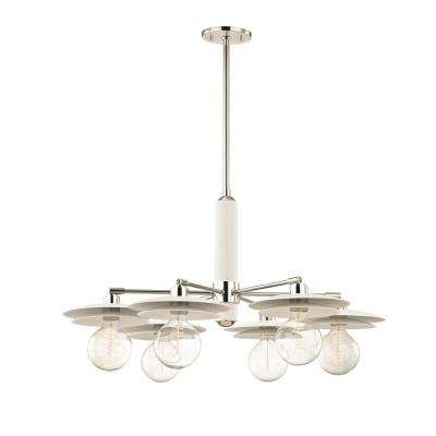 Milla 6-Light Polished Nickel Chandelier with White Shade