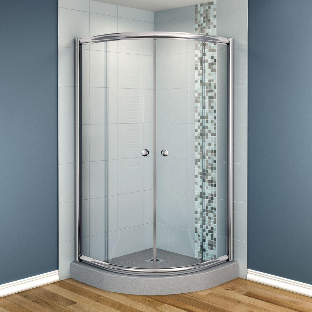 MAAX Talen 42 in. x 42 in. x 70 in. Neo-Round Frameless Corner Shower Door Clear Glass in Chrome Finish-DISCONTINUED