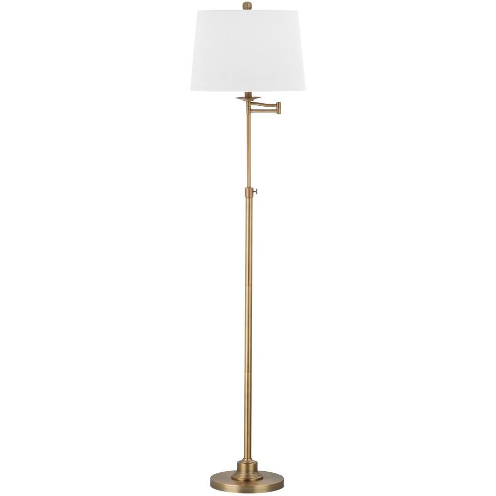 Safavieh Nadia 64 25 In Gold Floor Lamp With Off White Shade Lit4337a The Home Depot