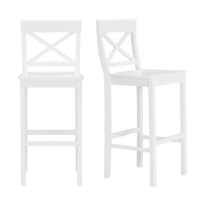 Cedarville White Wood Bar Stool with Cross Back (Set of 2) (19.42 in. W x 44.15 in. H)
