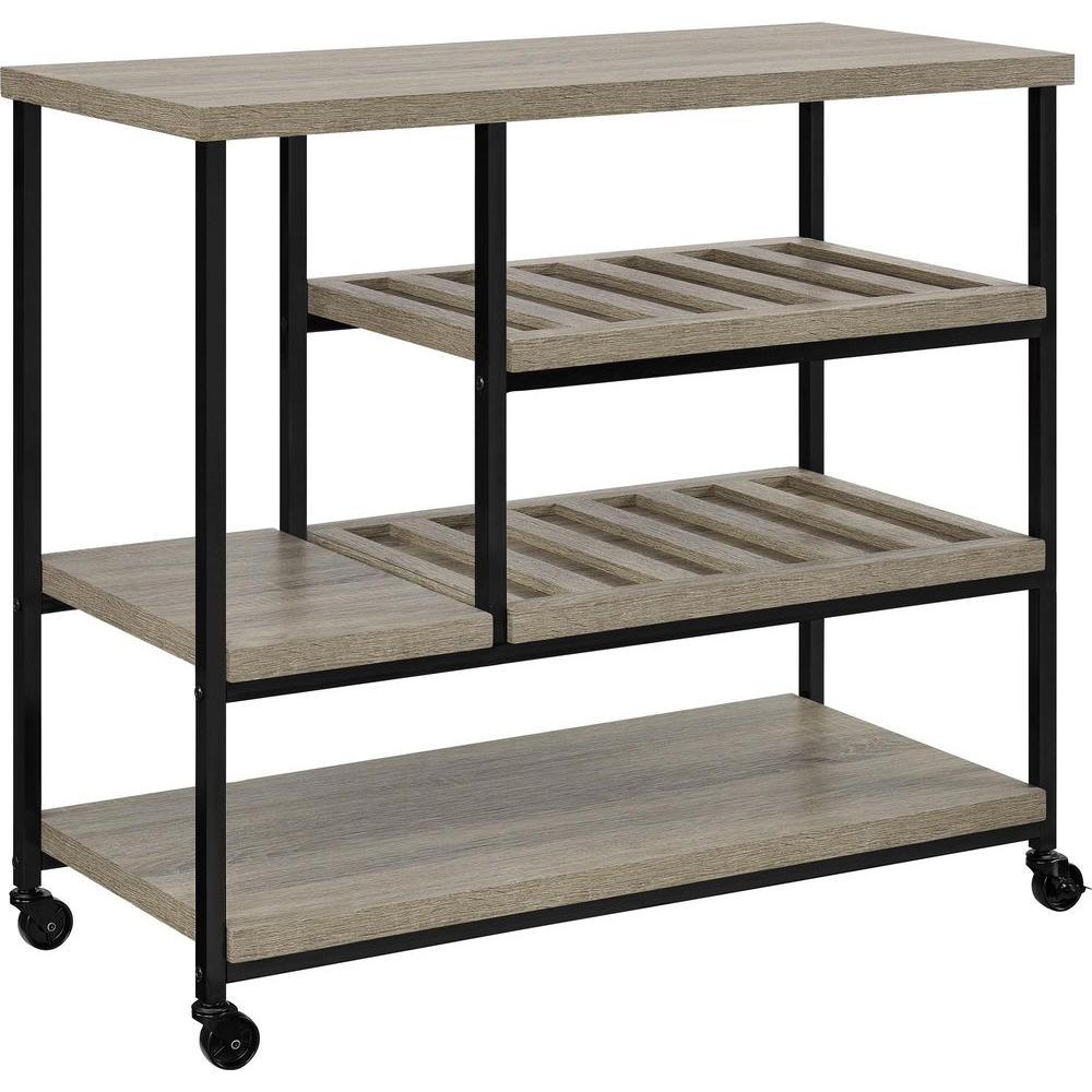 Seneca Sonoma Oak Serving Cart with Slatted Shelf