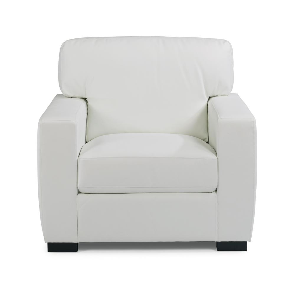 Home Styles Erin Ivory White Faux Leather Club Chair And Ottoman