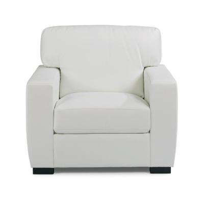 Erin Ivory White Faux Leather Club Chair and Ottoman