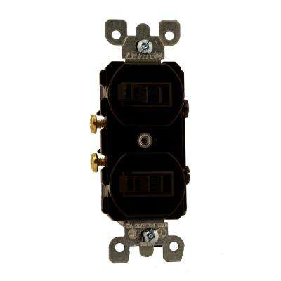 15 Amp Commercial Grade Combination Two Single Pole Grounding Toggle Switches, Brown