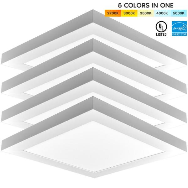 1 ft. x 1 ft. 1500 Lumens Integrated LED Panel Light 18W 5 Color Selectable Damp Rated UL Listed (4 Pack)