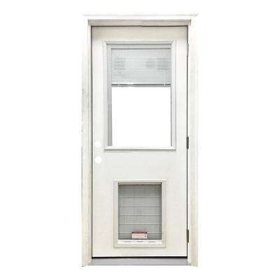 36 in. x 80 in. Classic Clear Mini-Blind LHOS White Primed Fiberglass Prehung Front Door with SL Pet Door