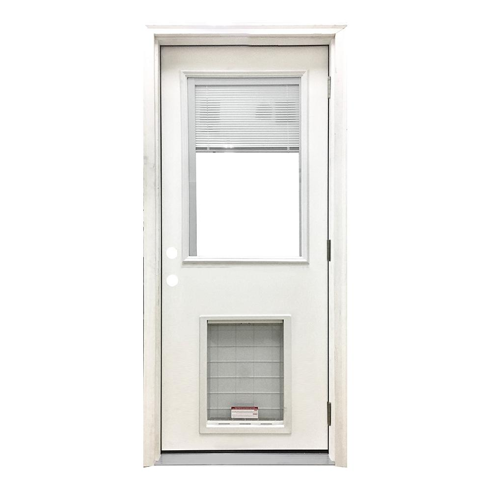 Steves Sons 32 In X 80 In Classic Mini Blind Lhos White Primed Textured Fiberglass Prehung