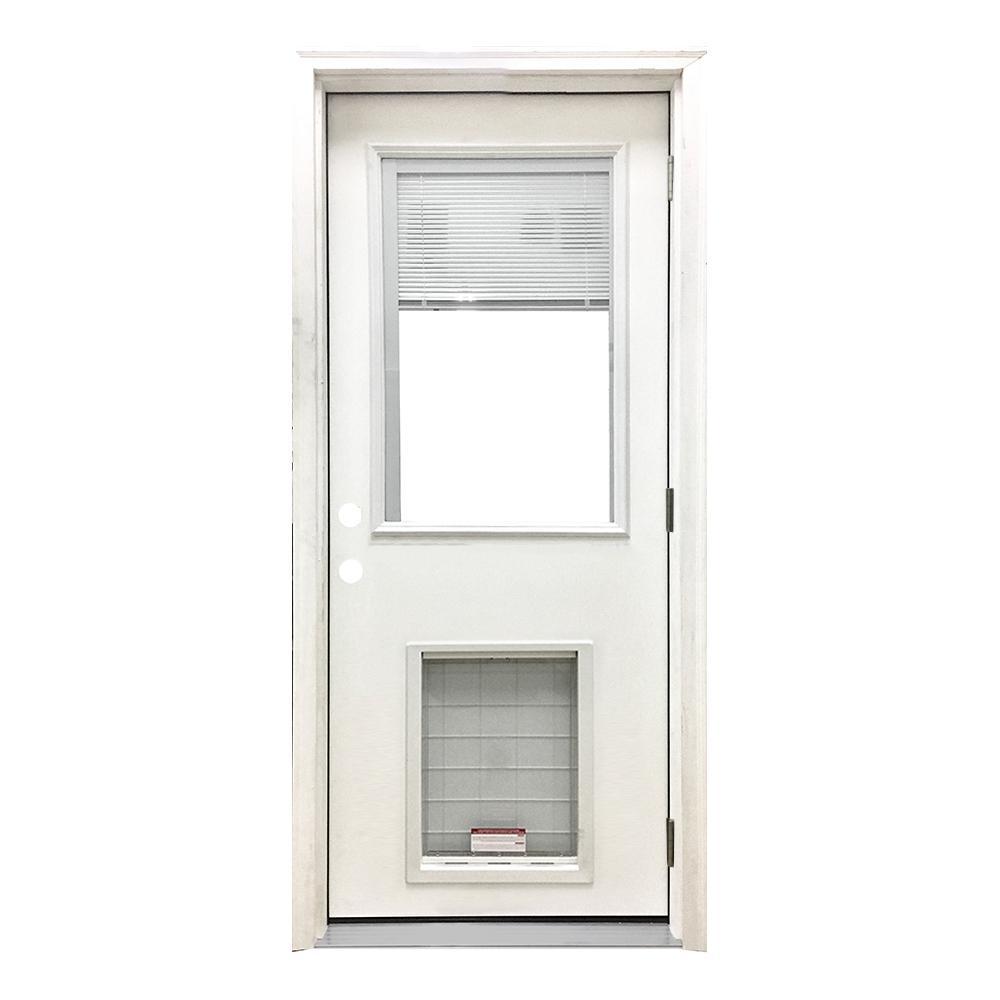 36 in. x 80 in. Classic Mini-Blind LHOS White Primed Textured Fiberglass Prehung Front Door with SL Pet Door