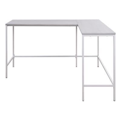 Contempo L-shaped 56 in. x 48 in. Desk in White Oak with White Metal Finish Frame (Set of 1)