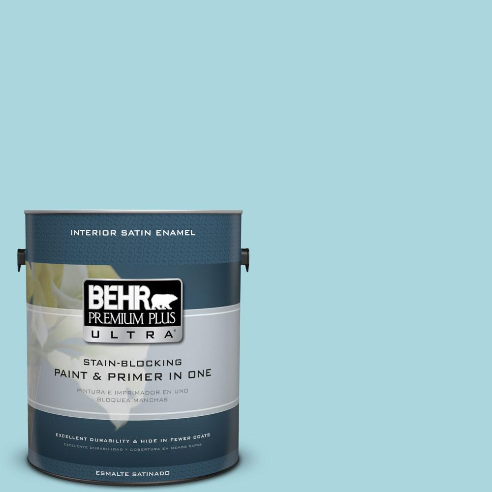 1 gal. #520C-3 Rapture Blue Satin Enamel Interior Paint and Primer