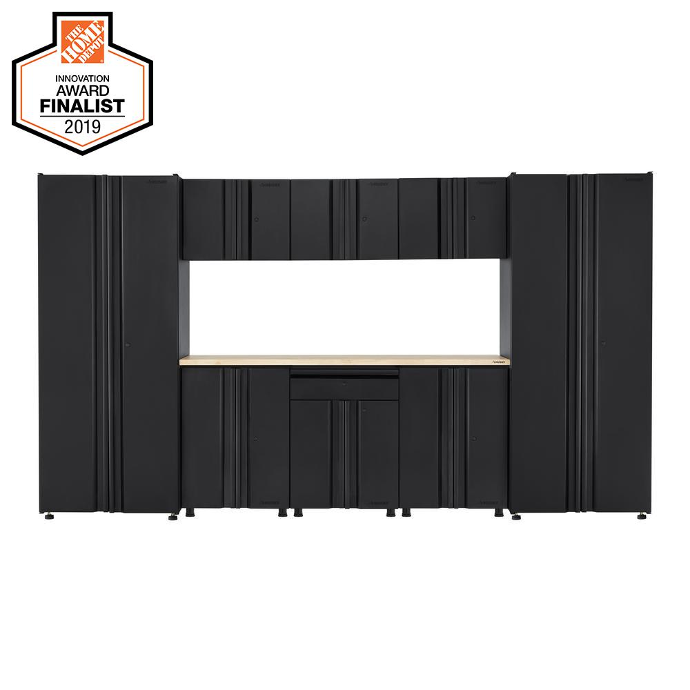 Husky Welded 133 in. W x 75 in. H x 19 in. D Steel Garage Cabinet Set in Black (9-Piece with Solid Wood Work Surface)