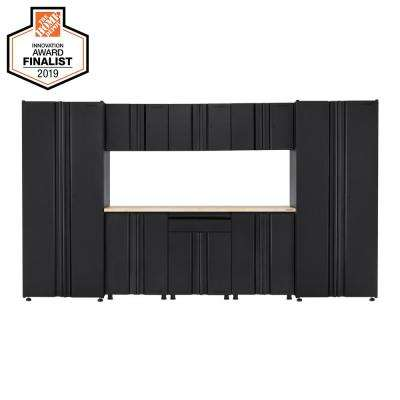 Welded 133 in. W x 75 in. H x 19 in. D Steel Garage Cabinet Set in Black (9-Piece with Solid Wood Work Surface)