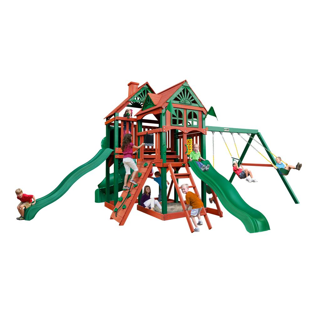 Gorilla Playsets Five Star II Deluxe Cedar Swing Set with Timber ...