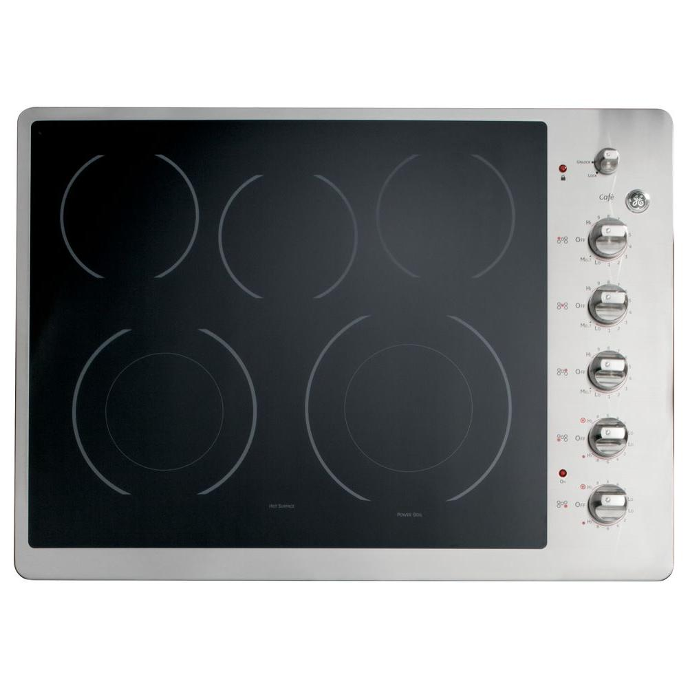 GE Cafe 30 in. Radiant Electric Cooktop in Stainless Steel with 5 Elements including Power Boil Element