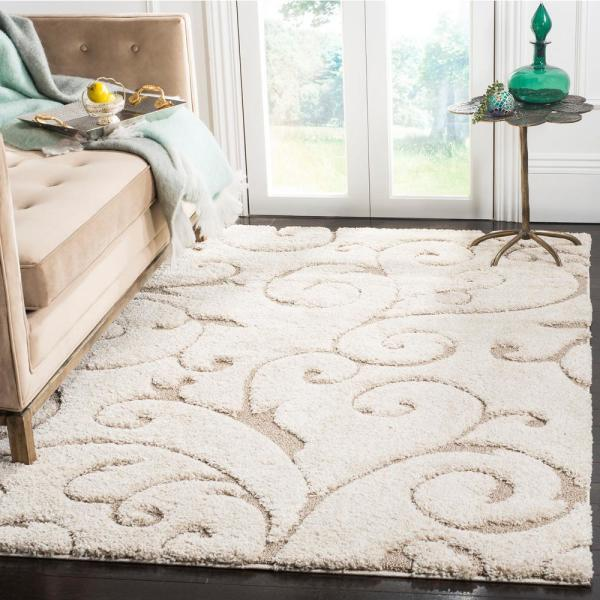 Safavieh Florida Shag Cream Beige 6 Ft X 9 Ft Area Rug Sg455 1113 6 The Home Depot
