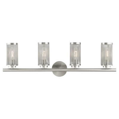 Industro 5.125 in. 4-Light Brushed Nickel Vanity Light with Stainless Steel Mesh Shades