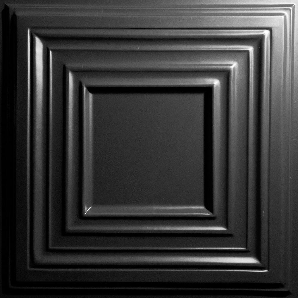 Ceilume Bistro Black 2 ft. x 2 ft. Lay-in or Glue-up Ceiling Panel (Case of 6)