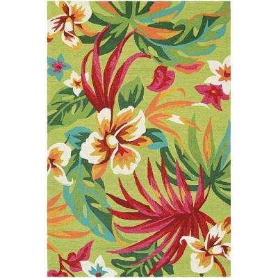 Covington Painted Fern Fern-Red 4 ft. x 6 ft. Indoor/Outdoor Area Rug
