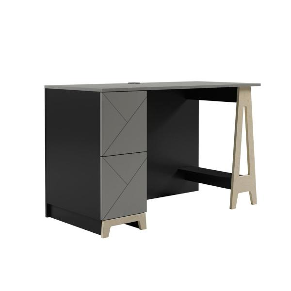 Atypik 48 in. Rectangular Black Greige and Russian Plywood Wood 2-Drawer Computer Desk with Cable Management