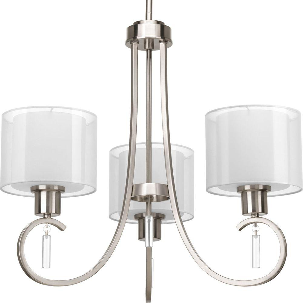 Invite Collection 3-Light Brushed Nickel Chandelier