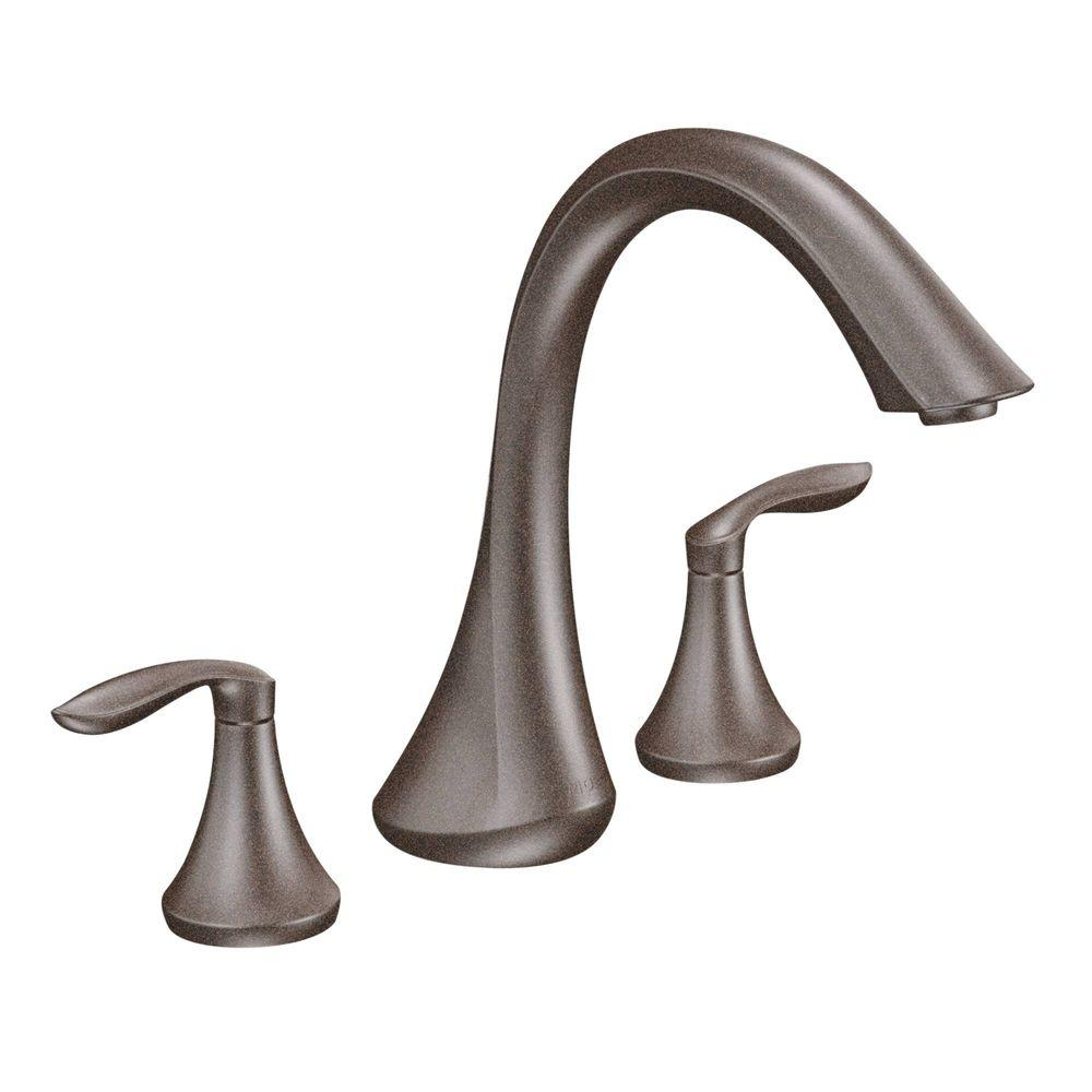 MOEN Eva 2-Handle Deck-Mount Roman Tub Faucet Trim Kit in Brushed ...