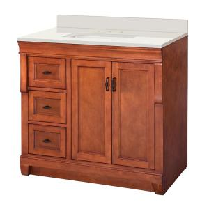 Naples 37 in. W x 22 in. D Vanity in Warm Cinnamon with Engineered Marble Vanity Top in Winter White with White Sink